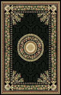 New * This Beautiful Centerpiece from Ann Arbor Collection Features a  Floral Medallion Bouquet Center with matching Floral Border. Black Background is the perfect style for home Decor!