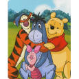 Winnie the Pooh & Me cartoon Mink Style Blanket measures 40x50 inches and comes in an easy to carry gift box. It is big enough to cover yourself on your sofa or drape over a crib sized mattress. This blanket features the Disney Pals: Pooh, Tigger, Eeyore, & Piglet. It is an officially licensed product. These blankets are extra warm & plush and have superior durability. Easy Care, machine wash.
